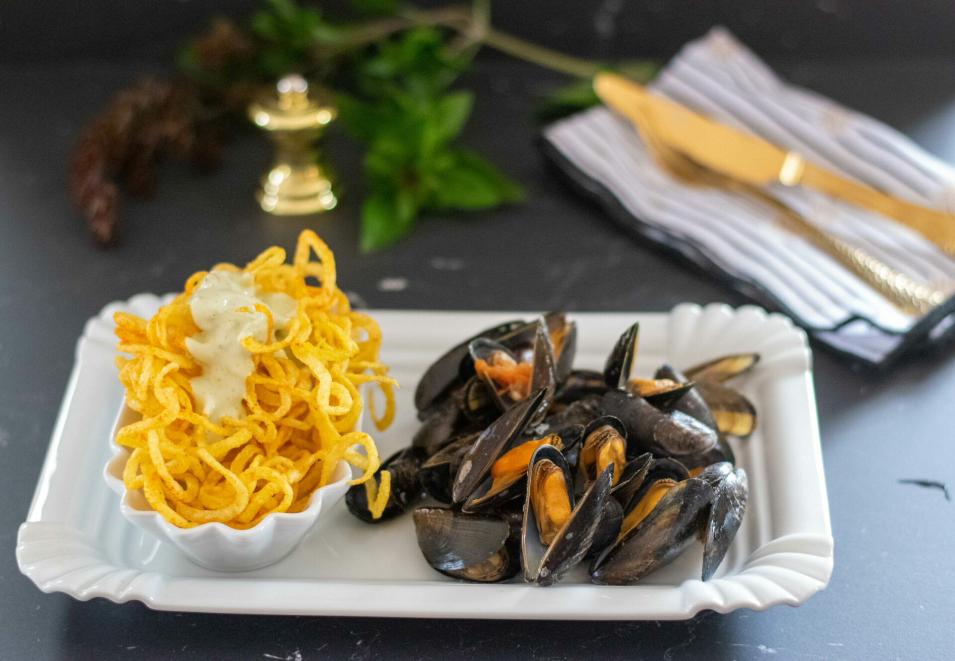 Moules frites Miesmuscheln